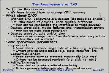 Lecture: Page Allocation and Replacement 2, Survey of I/O Systems